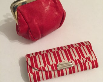 Red Leather Coins Purse - Key Chain Organizer