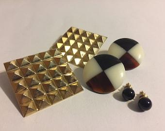 Lot Stud Earrings - Vintage Earrings - Retro Earrings - Gold - Candy - Glasse - Black - Bold
