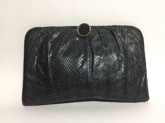 Blue Snake Skin Purse - Snake Leather - Snake Bag