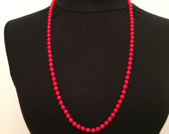 Red Necklace - Glass Necklace - Mid Century Necklace - Beaded Necklace - Retro Jewelry