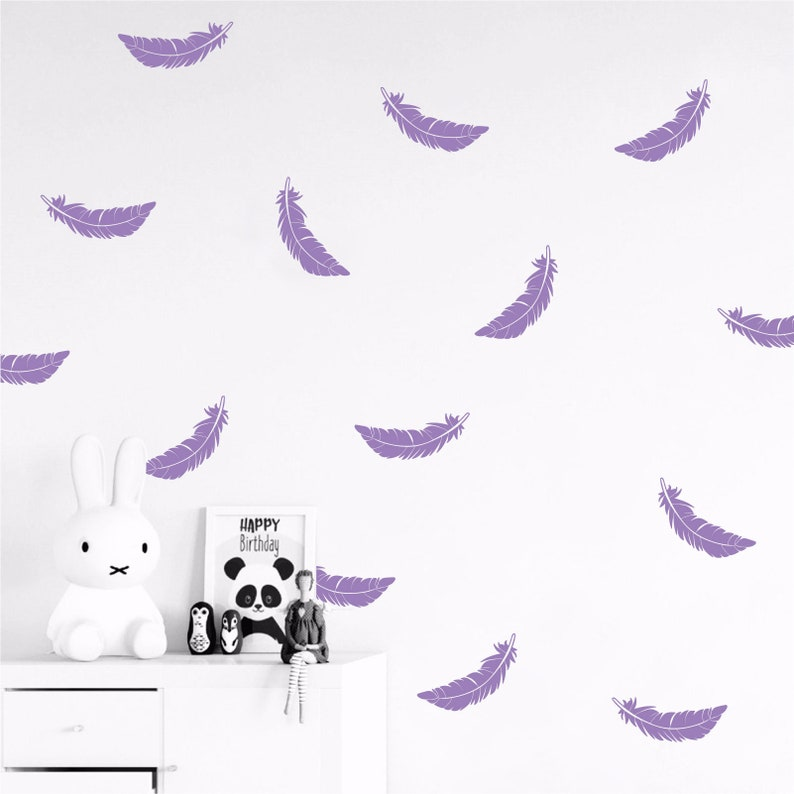 Set of Feather wall decals set stickers wall pattern decals confetti decals Sizes and Quantites available Multiple Colors