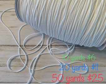 3mm 55 Yard Elastic Strap White Earloop Cord Stretchy Ear Tie Rope Handmade String for Sewing,1//8-Inch
