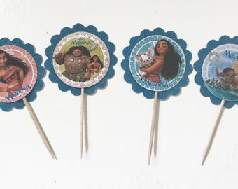 24x Disney Moana inspired Cupcake toppers food picks
