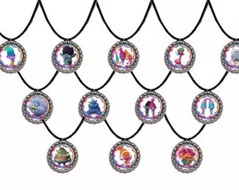 12x Dreamworks Trolls inspired party Favor Necklaces