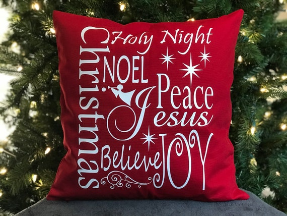 Christmas Throw Pillows - Believe Christmas Decor - Holiday Accent Pillow  Covers 18x18