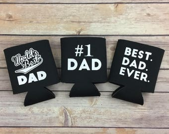 Gift for Dad - Worlds Best Dad Can Holder -  #1 Dad Can Holder - Best Dad Ever Can Holder - Insulated Can Holder