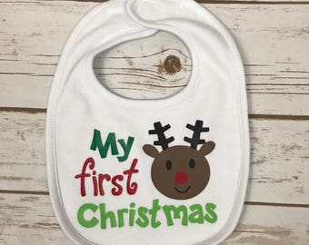 My First Christmas Baby Bib - 1st Christmas Bib - Baby's First Christmas - First Christmas for Baby