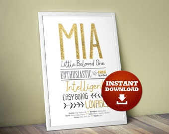 Mia Name gift, Mia, Personality Traits Poster, Nursery room Art, Baby Shower Gift, Adoption Gift, Gotcha Day, Name Meaning, Decor, Freedom