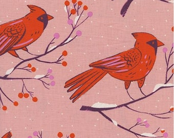 Cotton + Steel- Frost- Sarah Watts- Winter Cardinals in Pink