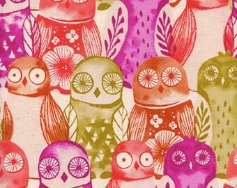 Cotton + Steel- Wise Owls in Fuchsia- Firelight- Sarah Watts