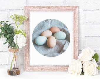 Printable Art - Easter Eggs Robin Egg Abstract Table Photograph - Wall Office Home Decor