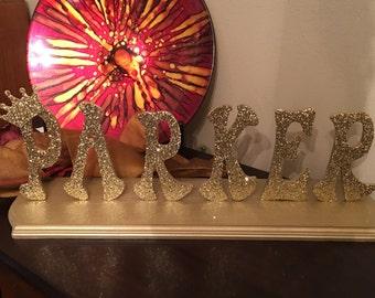 Wooden Name Centerpiece~ Glittered Letters Centerpiece~Name Keepsake