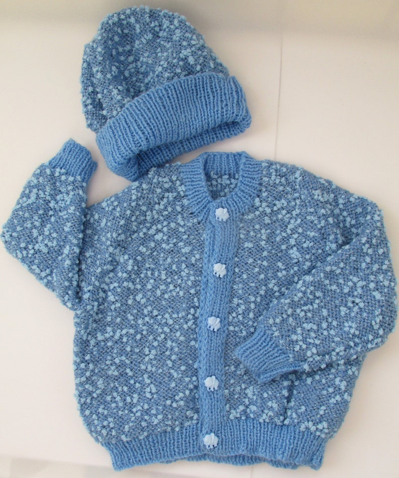 8e3d72ccf Hand knitted baby boy s cardigan and beanie hat knitted in