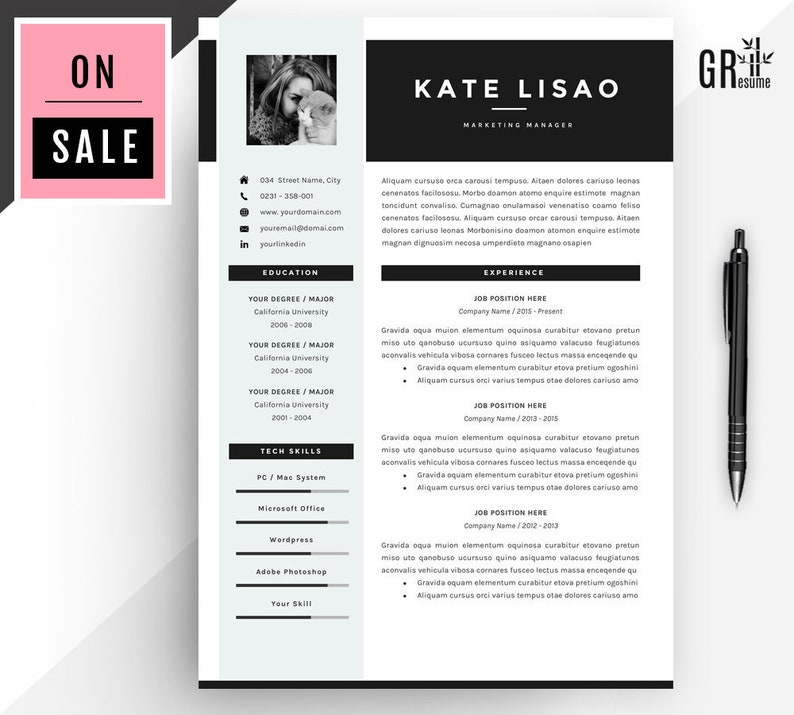 Resume Template / CV Template for Word (US Letter and A4) 1 & 2 Page CV  Template