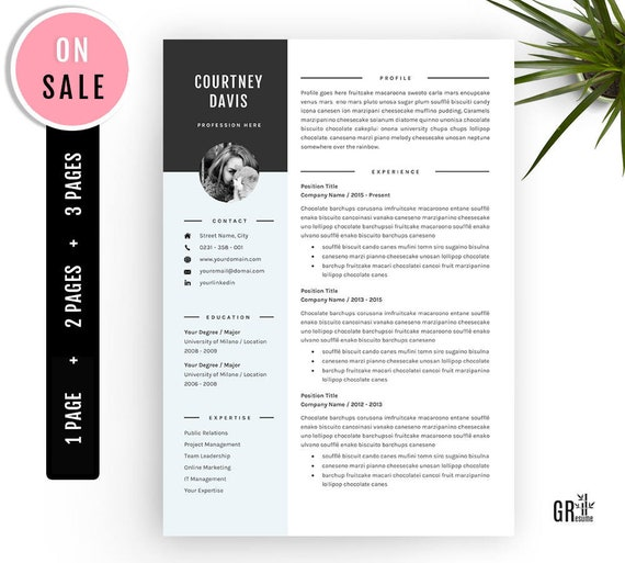3 Pages Resume Template Professional CV Template for | Etsy