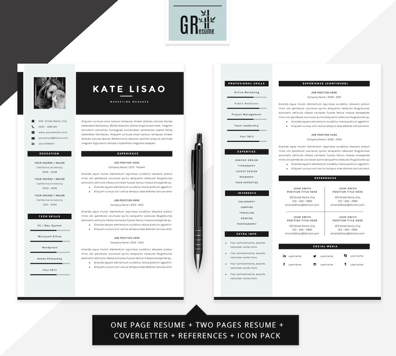 professional modern resume    cv template for word us