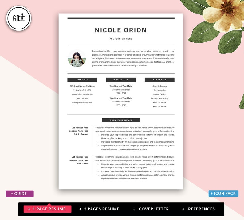 Professional CV Creative Resume Template Modern and Clean Resume Design for Microsoft Word