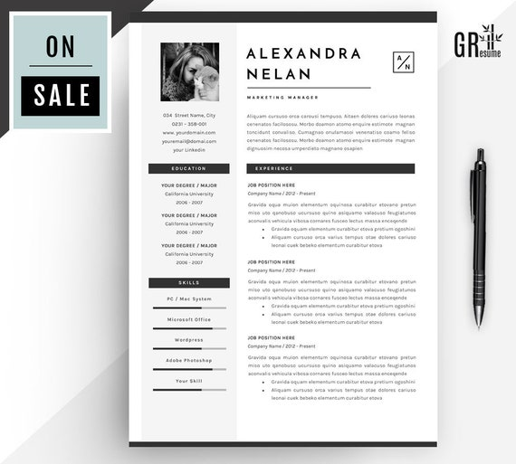 resume cv template professional for word us letter and