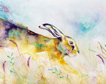 Hare Art Print, Hare Illustration, Hare Painting, Hare Print, Hare Wall Art, Watercolour Hare Print, Digital Hare Print, Hare Painting Print