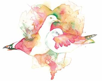 Seagull Print Seagull Art Print Seagull Painting Print Seagull Bird Painting Seagull Watercolour Painting Seagull watercolor Seagull Picture
