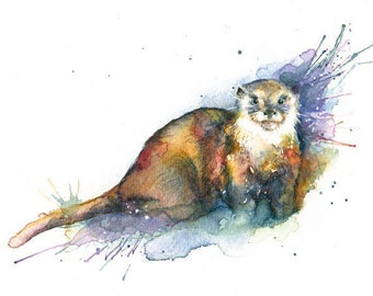 Otter Art Prints watercolour art prints wildlife Otter Print Otter Illustration Otter Wall Decor Otter Wall Art otter Wall Hanging otter