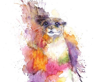Otter print Watercolour print Splash animal painting Pink wall art Animal art print Splash Otter art Home deco art Otter painting pink