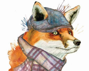Fox Print Fox water colour print, original fox water colour painting print, fox wall art, animal wildlife painting print, digital fox print