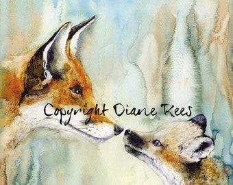 Fox Print Fox Watercolour Painting Print Original Painting Print Fox and Cub Painting Print Wildlife Painting Print Fox Watercolour Fox Art