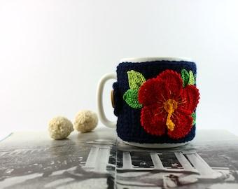 Mug cosy, cup cosy, mug cover, gibiscus crochet, crochet cup cosy, cup cozy, coffee cup, tea cup, tea cosy,  mug knitted cosy, mug sleeve