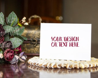 Download Free White Card on a Table with Flowers / Stock Photography / Product Mockup / High Res File PSD Template