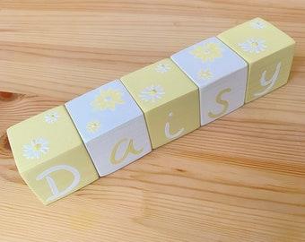 Daisy Theme Personalised Baby Wooden Blocks Pale Yellow White Nursery