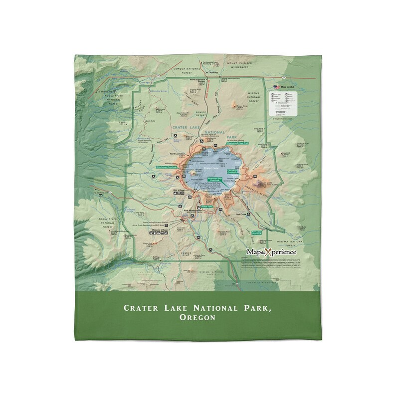 FREE SHIP Crater Lake NP Plush Throw Blanket