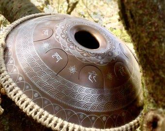 "Big tongue drum GUBAREV drum Standart ""Lotos with mantra Hare Krishna"" with rope decoration Handpan alternative tankdrum petal steel pan zen"