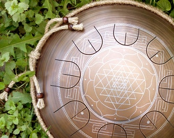 "Steel tongue drum - GUBAREV drum MINI Overtone ""Sriyantra"" with rope decoration Handpan percussion petal drum metal drum meditation therapy"