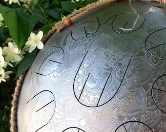 MINI Handpan with nine petals - GUBAREV drum MINI Overton Plus Silver Flower with rope decoration steel tongue drum percussion tankdrum