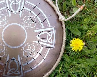 "Steel tongue drum - GUBAREV drum MINI Overtone ""Celtic Cross"" with rope decoration Handpan Tongue drum Tank drum Steel pan tongue pan"