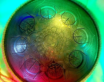 "Steel tongue drum - Gubarev drum MINI Overtone ""Silver Flower"" with rope decoration, Handpan, Tongue drum, percussion, petal drum, tank drum"