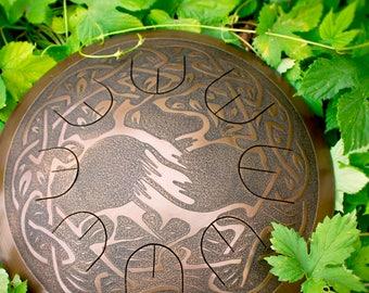 "Steel tongue drum - Gubarev drum MINI Overtone ""Tree of life"" with rope decoration, Handpan, Tongue drum, percussion, petal drum, tank drum"