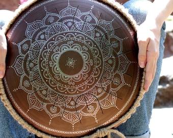 "Steel tongue drum - GUBAREV drum MINI Overtone ""Frozen Flower"" with rope decoration Handpan tankdrum percussion petal drum metal drum zen"