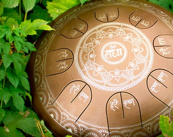 "Steel Tongue Drum - GUBAREV drum MINI Overtone ""Lotos with Mantra"" with rope decoration, Handpan, percussion, metal petal drum, Hare Krishna"