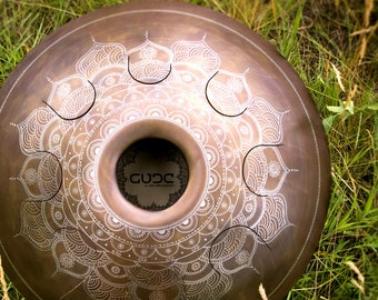 "Big tongue drum GUBAREV drum Standart ""Frozen Flower"" with rope decoration Handpan alternative tankdrum petal steel pan percussion zen yoga"