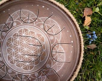 MINI Handpan with nine petals - GUBAREV drum MINI Overton Plus Flower of life rope decoration steel tongue drum percussion tankdrum petal