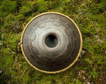 "Big tongue drum GUBAREV drum Standart ""Dnipro"" with rope decoration Handpan alternative tankdrum petal steel pan percussion zen meditation"