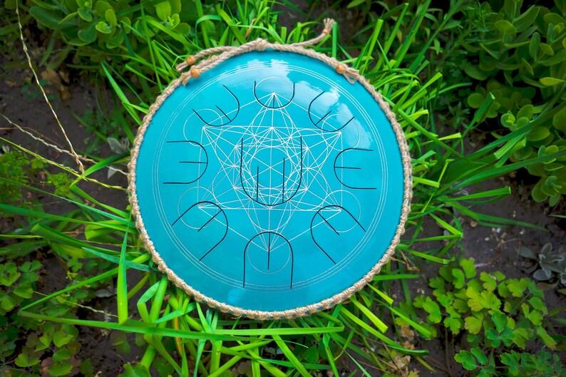 Small steel tongue drum with nine notes Blue Gubarev drum MINI image 0