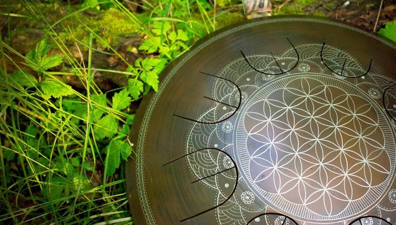 Steel Tongue Drum  GUBAREV drum MINI Overtone Flower of image 0