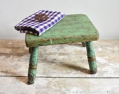 Green painted vintage wooden step stool, photo prop.