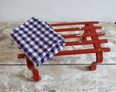 Red painted metal vintage step stool, plant stand, caravan stool, vintage storage shelf.