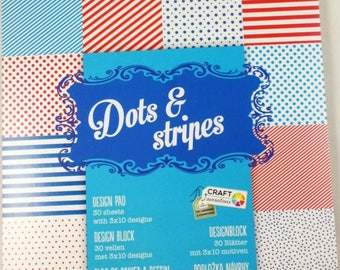 small Scrapbook Blossomy with 30 leaves, Scrapbook Paper scrapbook paper pad points stripe red blue white pattern (dots & stripes)