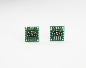 Circuit Board Stud Earrings | Geeky Jewellery