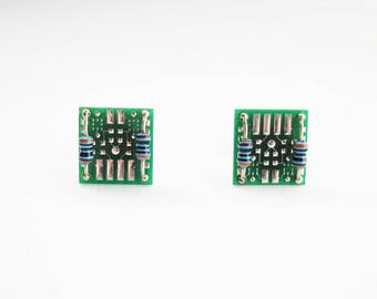 Circuit Board Stud Earrings with blue resistors | Geeky Jewellery | Circuit Board with chips and resistor